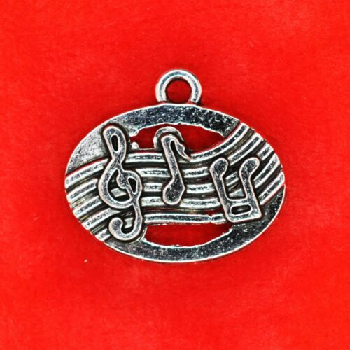 5 x Tibetan Silver Stave with Music Notes Charm Pendants Jewellery Making