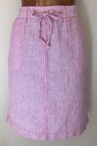 s Size Straight 8 24 Beached Linen M Skirt Pink On Beach Summer Pull OdwZqnB54x