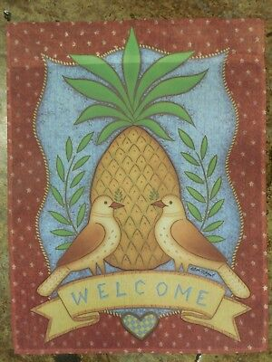 """welcome"" Pineapple W 2 Birds On Primitive Burgundy Star Background Garden Flag Koop One Give One"