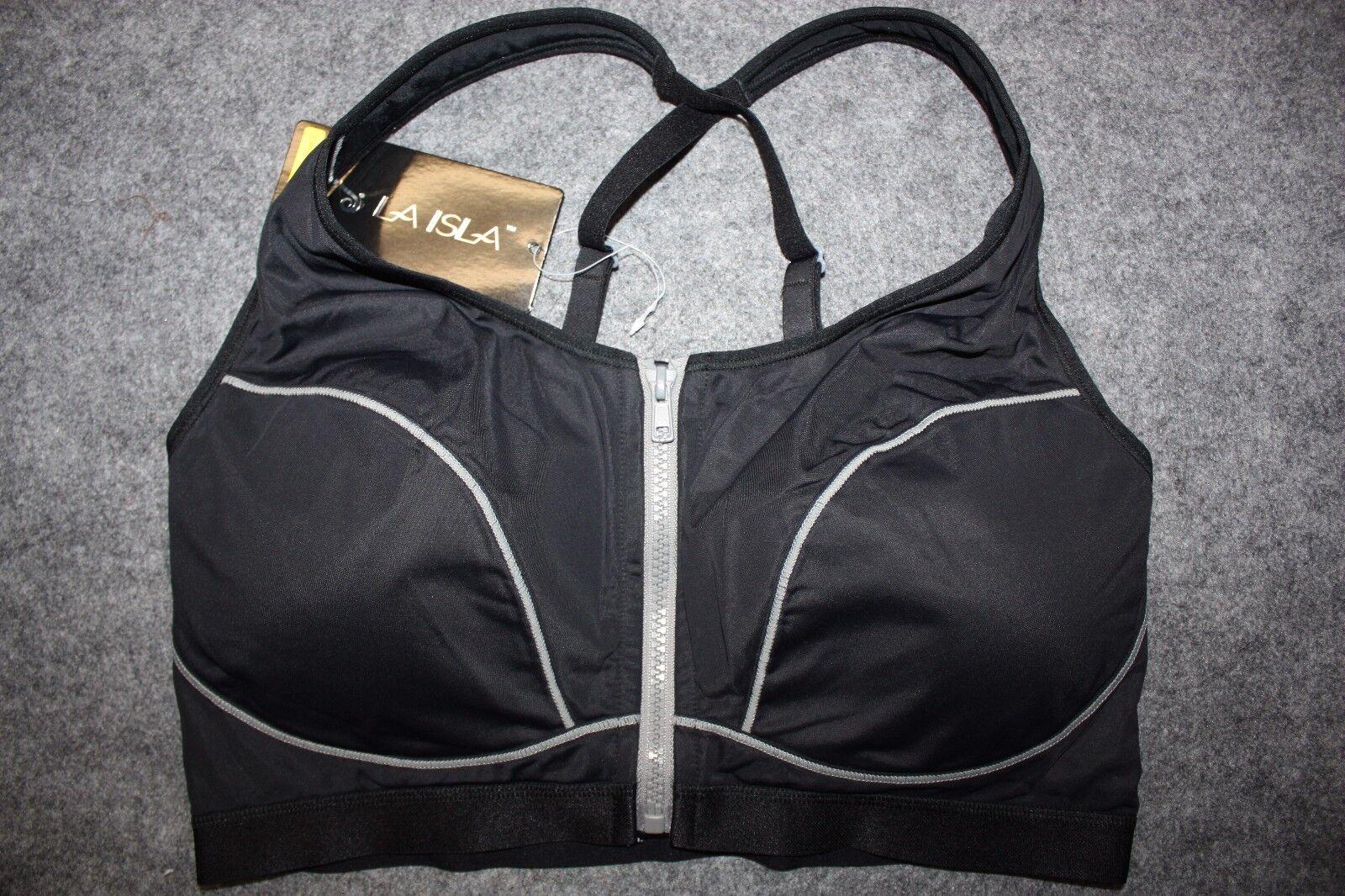 La Isla Women's High Impact Front Zipper Sports Bra E Style A188