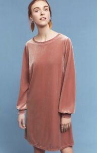 4d9f85d14f37 NEW Anthropologie mauve pink Easy Fit Stretch Velour Pullover Swing ...