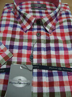 Peter Gribby Short Sleeve Shirt Red/navy/green Check 2xl3xl 4xl 5xl 6xl 7xl 8xl