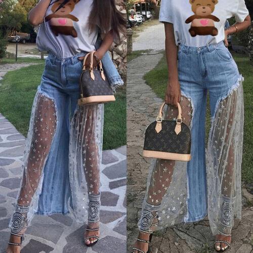 New Women Denim Jeans Destroyed Split Joint Lace Tulle High Waist Pants Trousers
