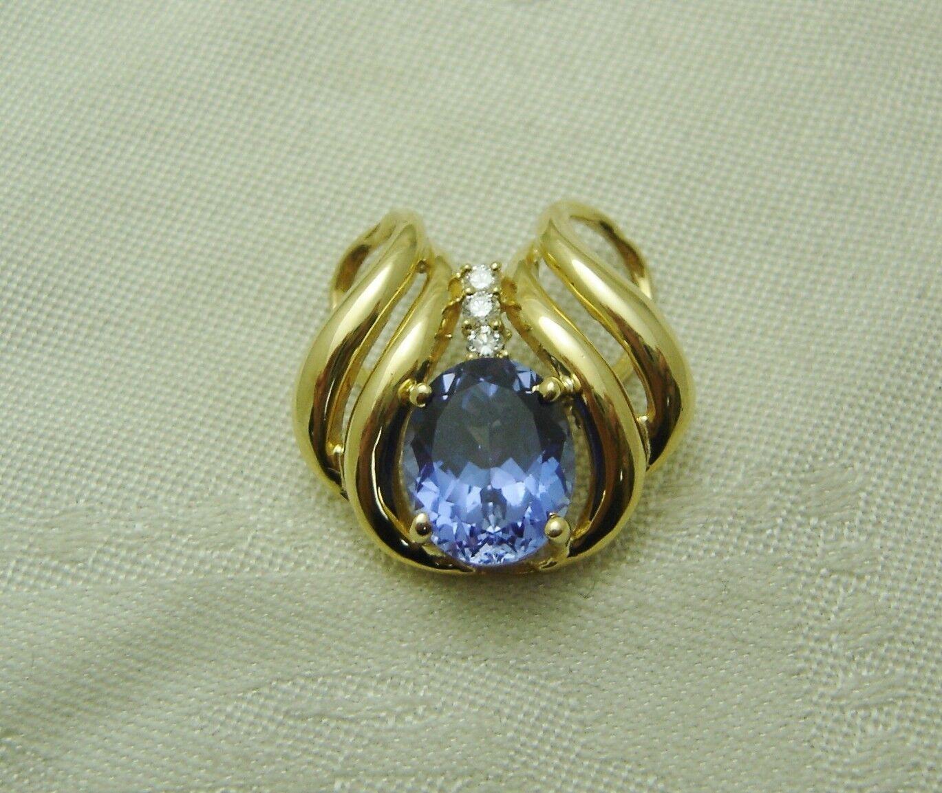 14K YELLOW gold SAPPHIRE & 3 DIAMOND SLIDE PENDANT  AWESOME N260-L
