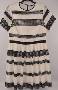 MICHAEL-KORS-Women-039-s-Lace-Striped-Dress-Cream-amp-Black-size-UK-14-16