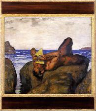 Franz von Stuck 09 Syrinx blasender Faun am Meer Platte 55x63 MUSIK SPIELENDER