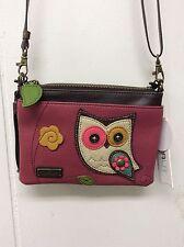 Chala Colorful Owl Dark Pink Mini Crossbody Bag Small Convertible Purse New
