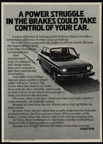 1974 VOLVO Car Take Control Of Your Car VINTAGE ADVERTISEMENT