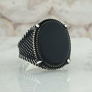 Solide-925-Sterling-Zilver-Mens-Ring-Zwart-Onyx-Edelsteen-Handgemaakt-Turkije