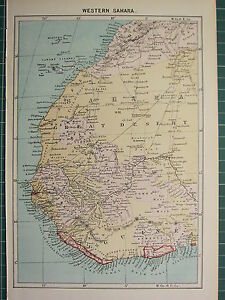 C1890 Antique Map Western Sahara Great Desert Africa Guinea