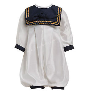 73b415777c2 BABY BOYS CHRISTENING OUTFIT ROMPER SUIT NAVY WHITE SAILOR OCCASION ...