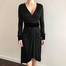 NWT Rare Gucci $2500 Black Runway Jersey Dress Velvet Detail, Sz S