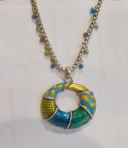Classy Blue Enameled Pendant on Neck Wire