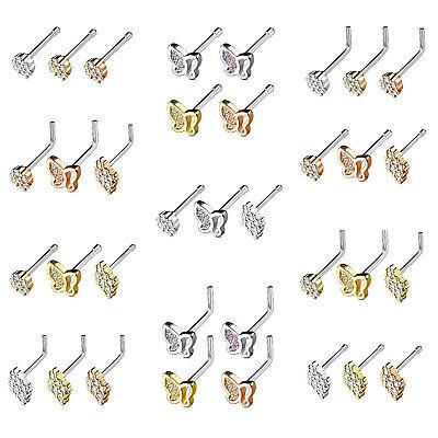 Bone or L-Shape 3 PC SET TEARDROP SHAPED 20G NOSE RINGS PIERCING JEWELRY