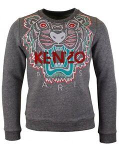 8d8d798b7 Image is loading Kenzo-Girls-Grey-Tiger-Design-Sweatshirt-5A-110