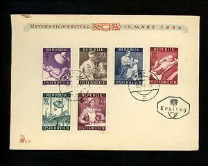 Postal-History-FDC-B288-293-Austria-Medical-Doctor-Nurse-1954-Vintage