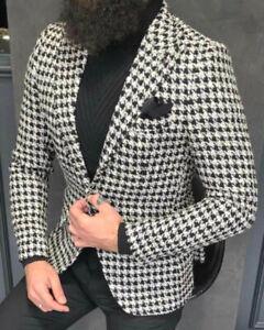 Pepita Hahnentritt Tailliert Blazer Details Slim Weiß Jacke Sakko Schwarz Zu Fit Designer PO8wn0k