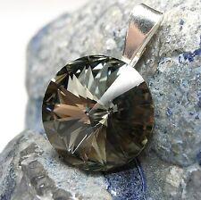 NUOVO CIONDOLO catene 14mm pietra Swarovski Black Diamond/Nero-Grigio rimorchio