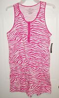 Faded Glory Preteen/teen Pink & White Animal Print One Piece Romper
