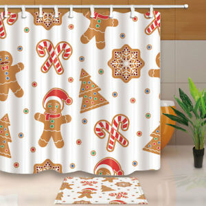 Image Is Loading Gingerbread Man Cookies And Snow Flake Shower Curtain