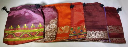 Lot of 6 3x3 Indian Saree Handmade Gift Bags Sari Jewelry Ring Earring Hand Sewn