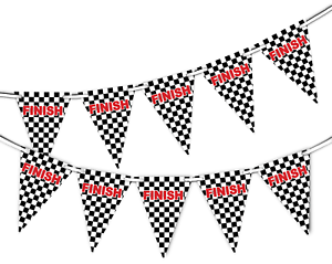 Finish-Line-Racing-Checkered-Pattern-Bunting-Banner-15-flags-by-PARTY-DECOR