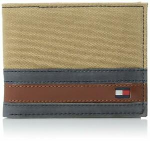 New Men/'s Tommy Hilfiger Canvas Leather Credit Card Wallet Bifold 4896-13 Brown