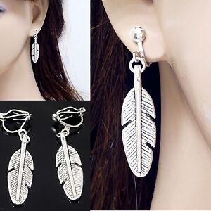 """#E122T Pair PIERCED EARRINGS 5/"""" Long Big Wings Feather Crystal Chandelier Women"""