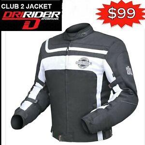 Dririder-CLUB-2-Motorcycle-Jacket-Retro-NEW-Black-White-rrp-199-Motorbike-Road