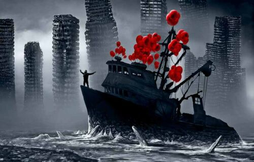Sci Fi Dark Boat Balloons Oil Painting Printed On Canvas Home Art Wall Decor