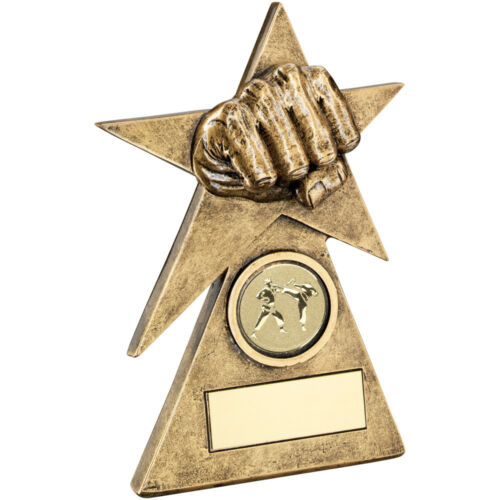 Martial Arts Clenched Fist Award Pyramid Star Gold Trophy FREE Engraving RF237