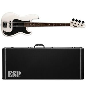 ESP LTD Surveyor '87 Pearl White Electric Bass Guitar + Hard Case 1987 87