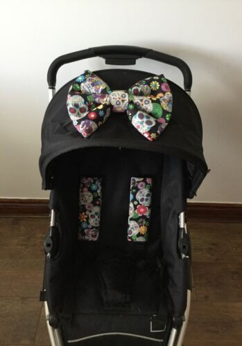 Pram harness covers PADDED BOW SUGAR SKULLS meurtos pram pushchair NEW