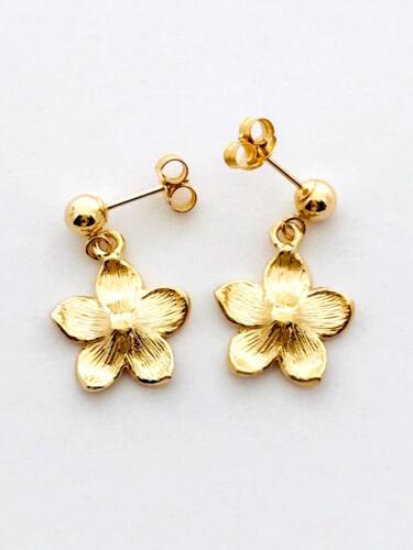 19 mm E2515-51 14K Solid Yellow Gold Hawaiian Plumeria Flower Earring W:12 mm L