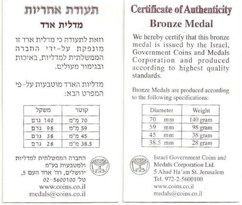 "COA Israel 1993 /""Youth/""  State Medal 59mm 98gr Bronze"