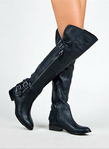 NEW-Sam-Edelman-Paulina-Over-the-Knee-Black-Leather-Boots-Size-6-M-Buckles-Moto