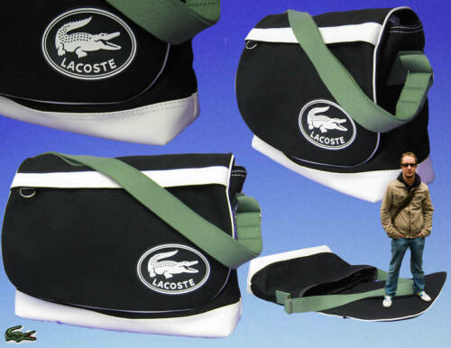 New Authentic LACOSTE Unisex MESSENGER Shoulder BAG Sport Vintage Black