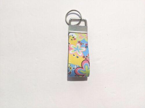 Details about  /Retro Hippy Flower Power Mini Key Fob Keychain