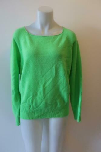 WOMENS 360 CASHMERE NEON GREEN PULLOVER SWEATER M