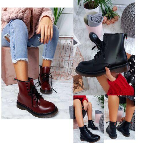 Womens Leather Ankle Boots Biker Combat Ladies Military Punk Lace Up Doc Shoes