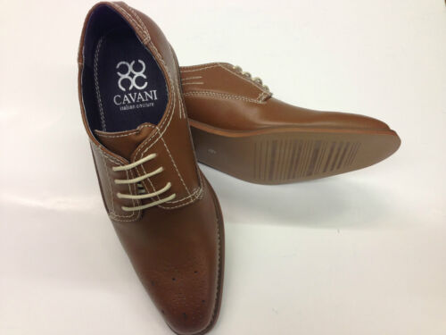 Leather Upper Brogue Fashion Shoes Tan Vintage Lace up Formal  Smart