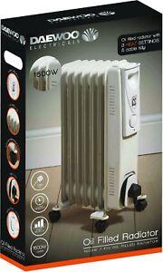 23677d98fd6 Daewoo White 1500 Watt Floor Standing Oil Filled Radiator Heater ...