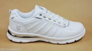 K-SWISS COURT LE COMFORTABLE WHITE AND SILVER TENNIS SHOES ...