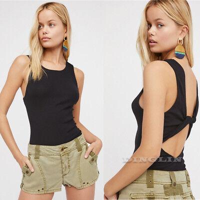 Fashion Women Backless Sleeveless Tank Top T-Shirt Vest Slim Tee Blouse Cami CHK
