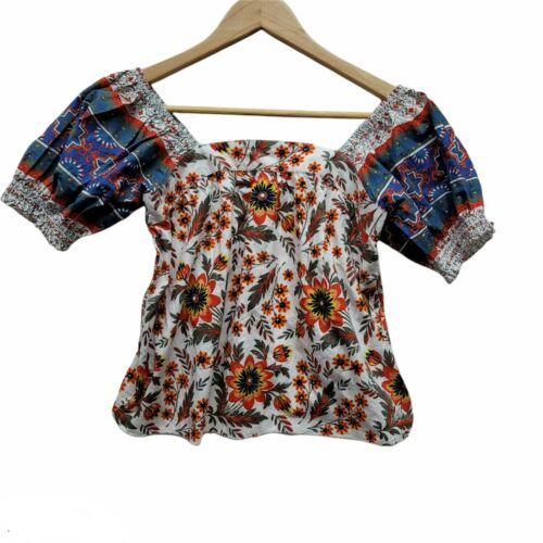 Joie muliti color floral puffy sleeve top sz XXS NWT