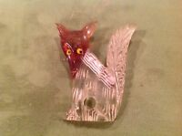Rare 1940s FOX FOXIE Bakelite Lucite Reverse Carved Book Piece Pin Brooch Cute