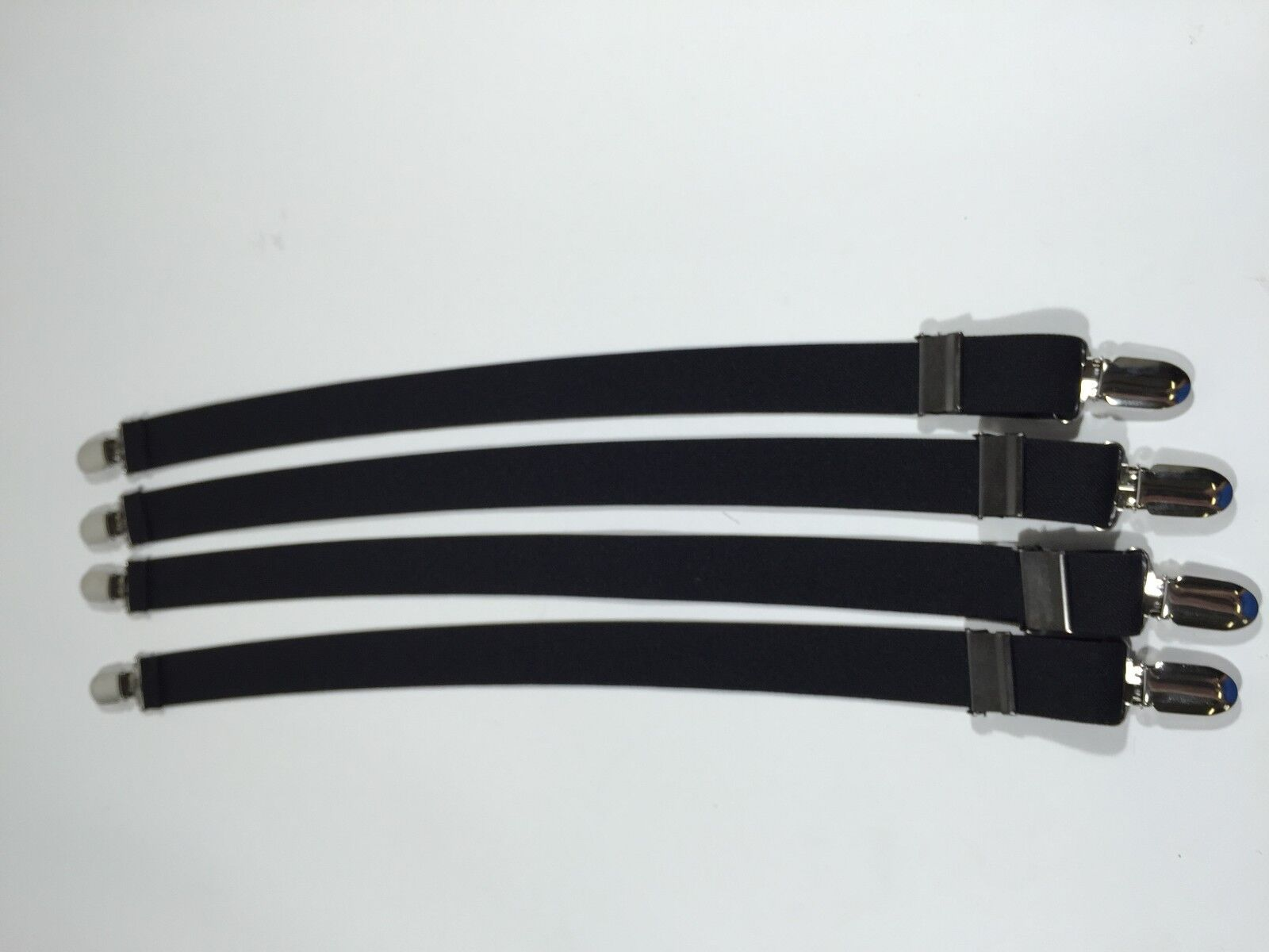 Military 4pk Shirt Stay Garters With Gator Clip BLACK Made in USA