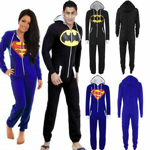 a1c79f15d5867 Men s Women Superman Batman Jumpsuit Super Hero All In One Piece ...