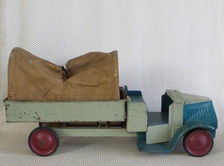 Gran VENDIMIA 1920s Steelcraft Mack Camión De Lona Ejército de acero prensado