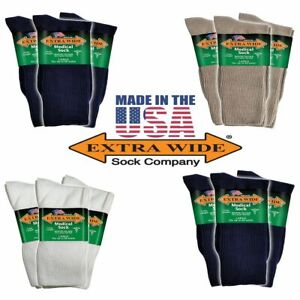 Extra-Wide-Socks-3-Pack-Medical-Diabetic-Microban-Crew-Big-Men-039-s-Made-in-USA